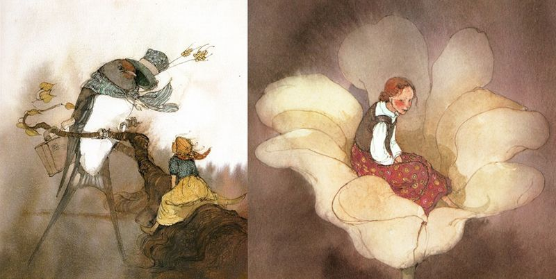 Two illustrations for Thumbelina by Lisbeth Zwerger