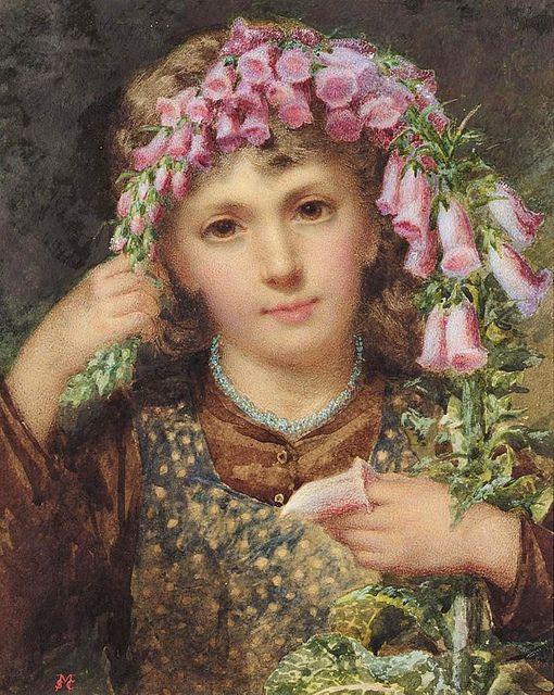 Girl With Foxglove by Samuel McLoy (1831-1904)