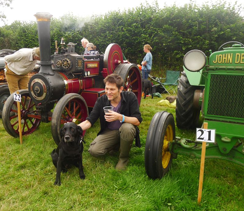 Husband, hound, and a vintage tractor