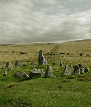 Stone row and circle near Down Tor, Dartmoor