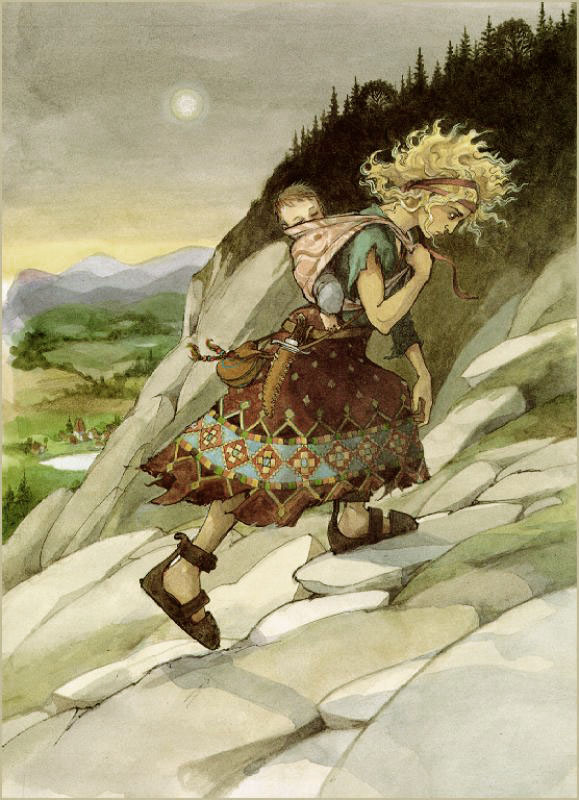 Rapunzel after she's left the tower by Trina Schart Hyman