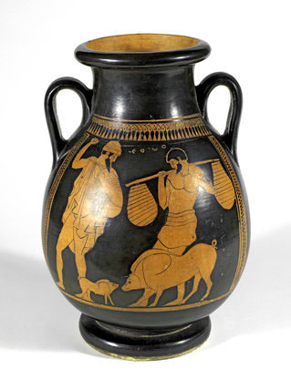 Greek vessel depicting Odysseus and the swineherd