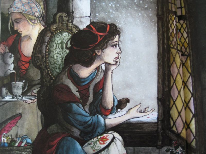 Snow White's mother longing for a child by Trina Schart Hyman