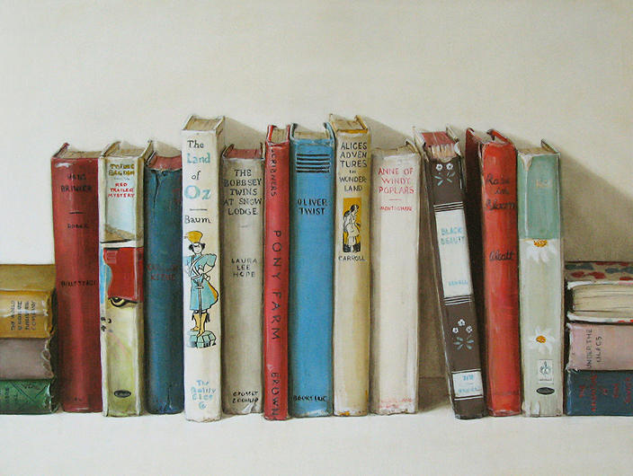 Vintage Children's Books, a still life painting by Holly Farrell