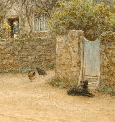 Dog and Hens by Helen Allingham