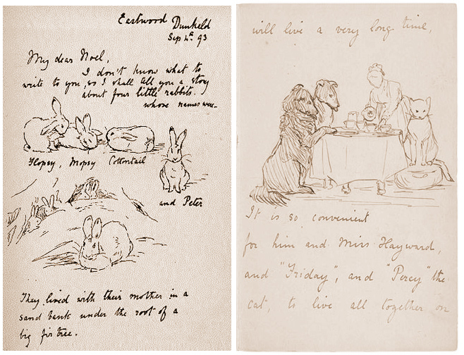 Early versions of her stories, in letter form, by Beatrix Potter