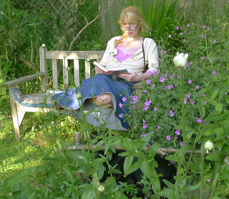 Re-reading on the garden bench