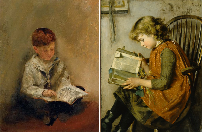 Boy Reading by Thomas Benjamin Kennington & Charlotte J. Weeks