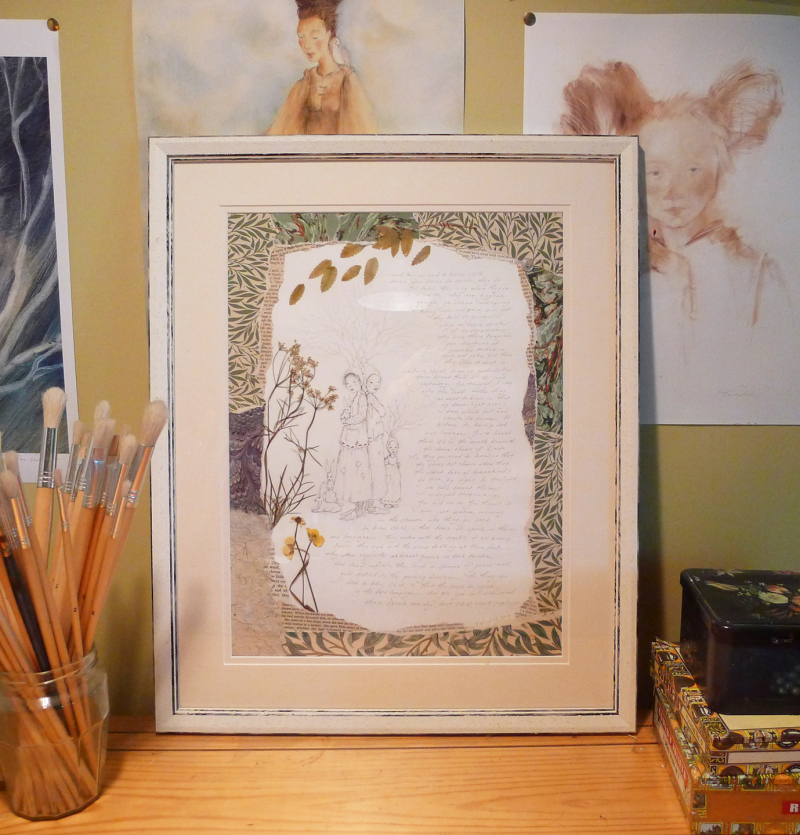 Framed collage in my studio, prior to the exhibition