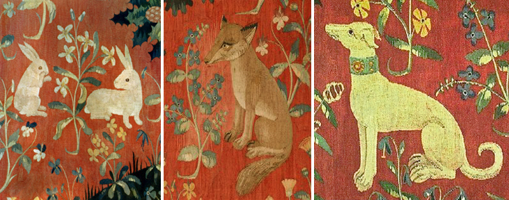 Rabbits, fox, & hound from medieval tapestries