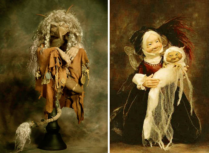 Troll Witch & Faery Godmother With Goblin Child by Wendy Froud