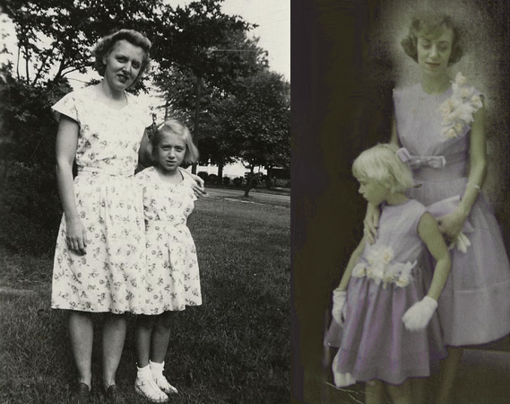 My mother & grandmother, 1940s, and my mother & me, 1960s