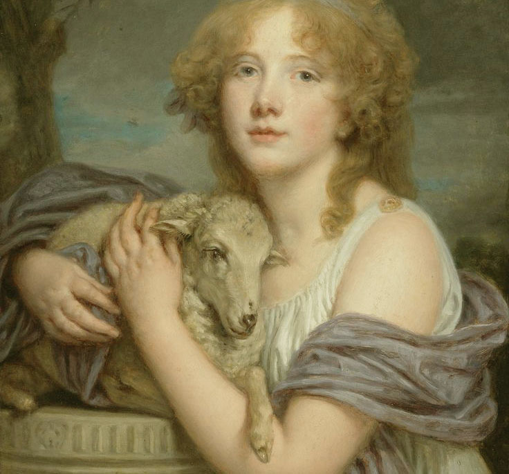 Girl With Lamb by Jean-Baptiste Greuze