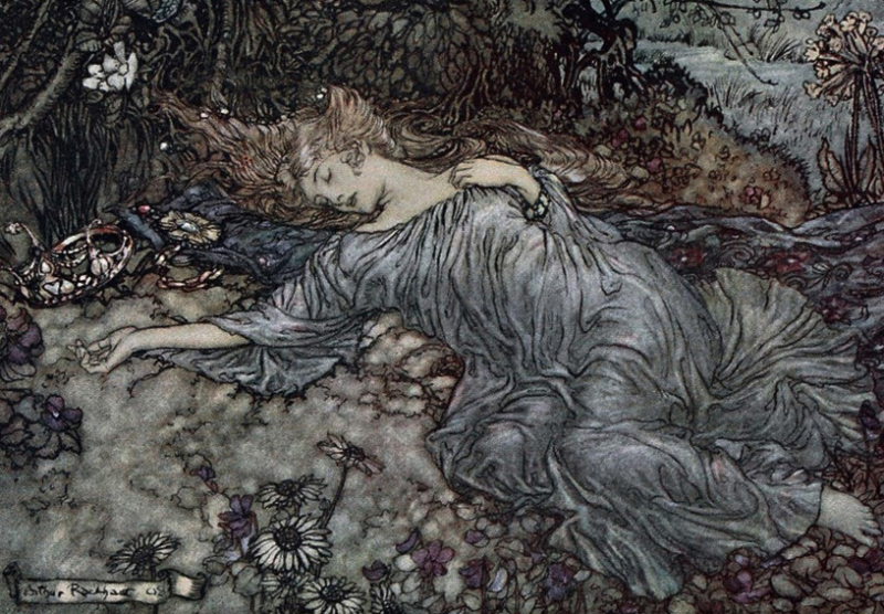 Titania Sleeping by Arthur Rackham