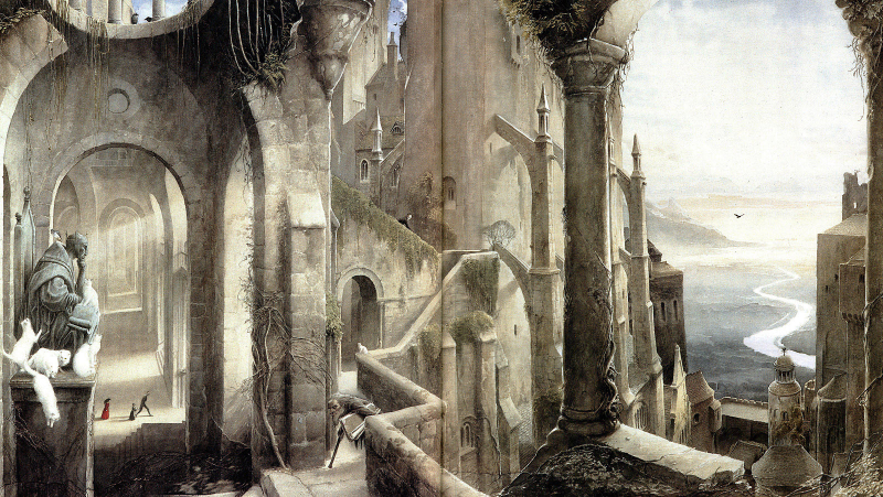 A painting of Gormenghast by Alan Lee