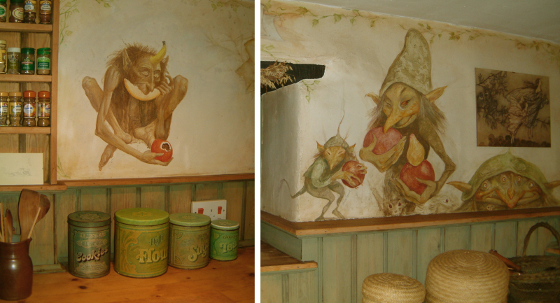 Goblins for the ''Goblin Market'' kitchen at Weaver's Cottage, painted by Alan Lee & Brian Froud