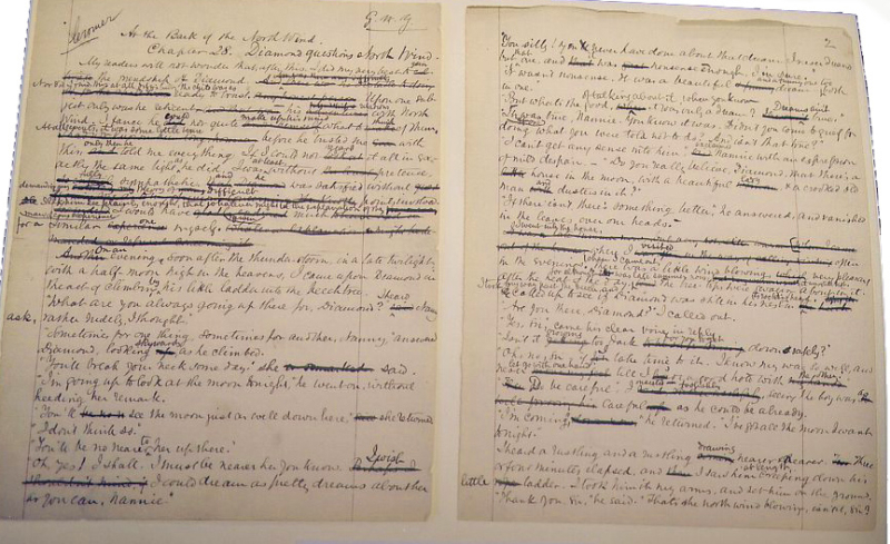 The manuscript for At the Back of the North Wind by George MacDonald