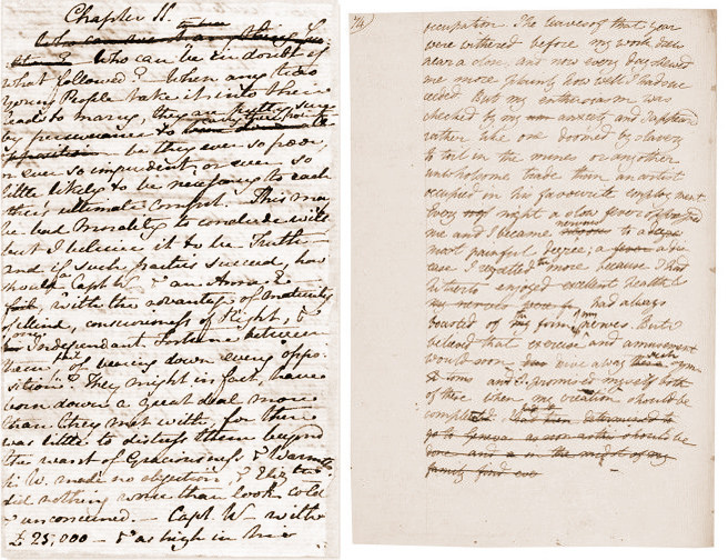 Manuscripts for Persuasion by Jane Austen & Frankenstein by Mary Shelley jpg