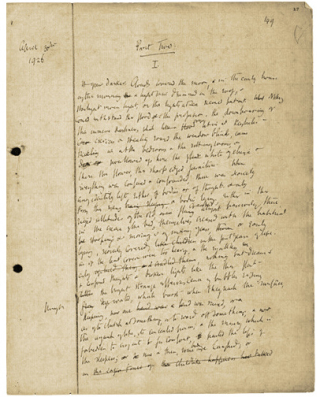 Manuscript for To the Lighthouse by Virginia Woolf