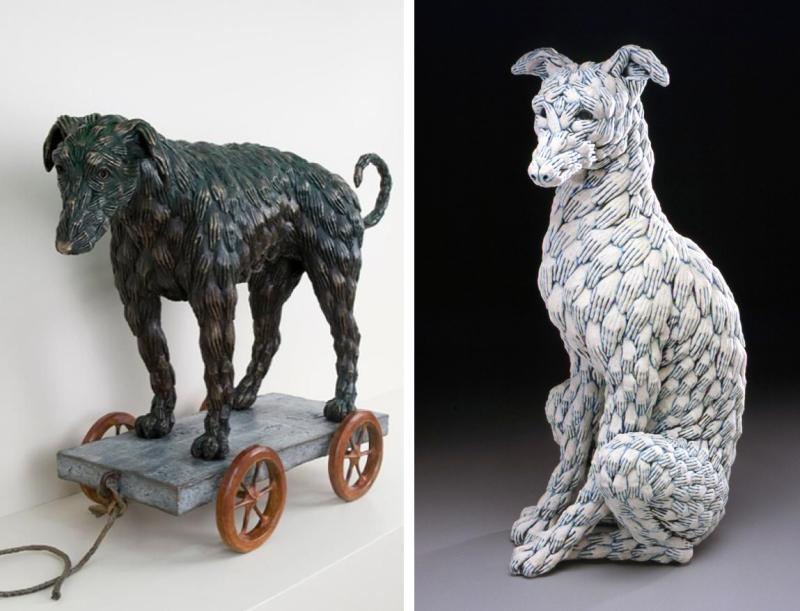 Hand-dog Pull Toy & Blue Dog by Adrian Arleo