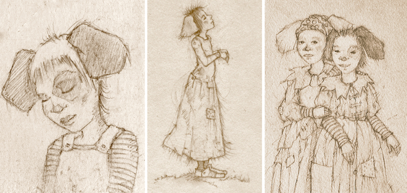 3 sketches of Dog Girls by Terri Windling
