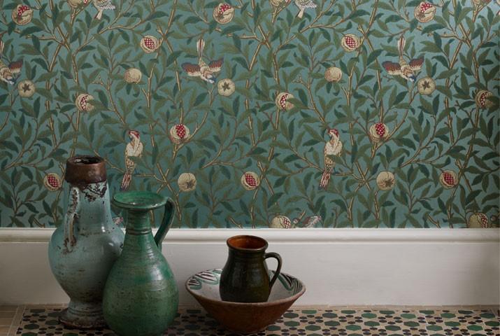 Bird & Pomegranate wallpaper designed by William Morris