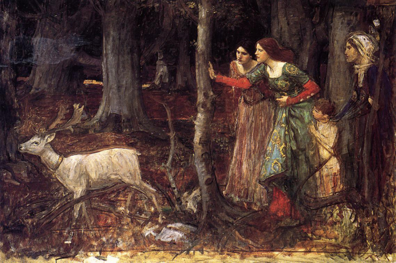 A study for The Mystic Wood by John William Waterhouse