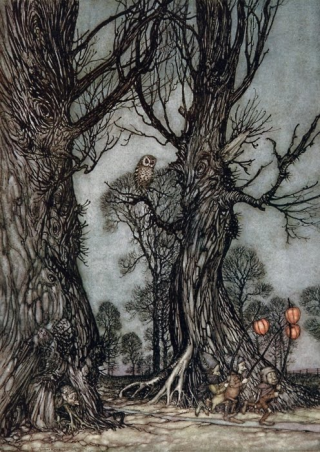 Fairy Linkmen Carrying Winter Cherries by Arthur Rackham