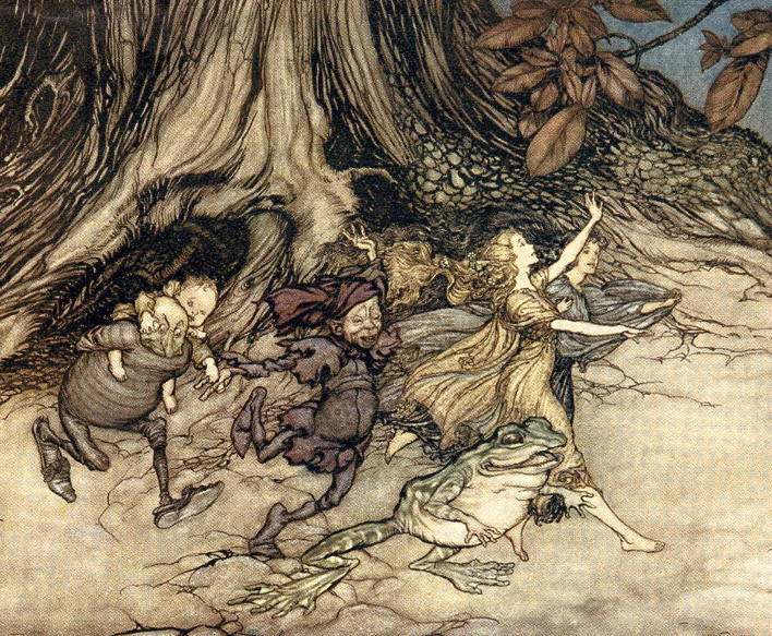 Frolicking fairies by Arthur Rackham