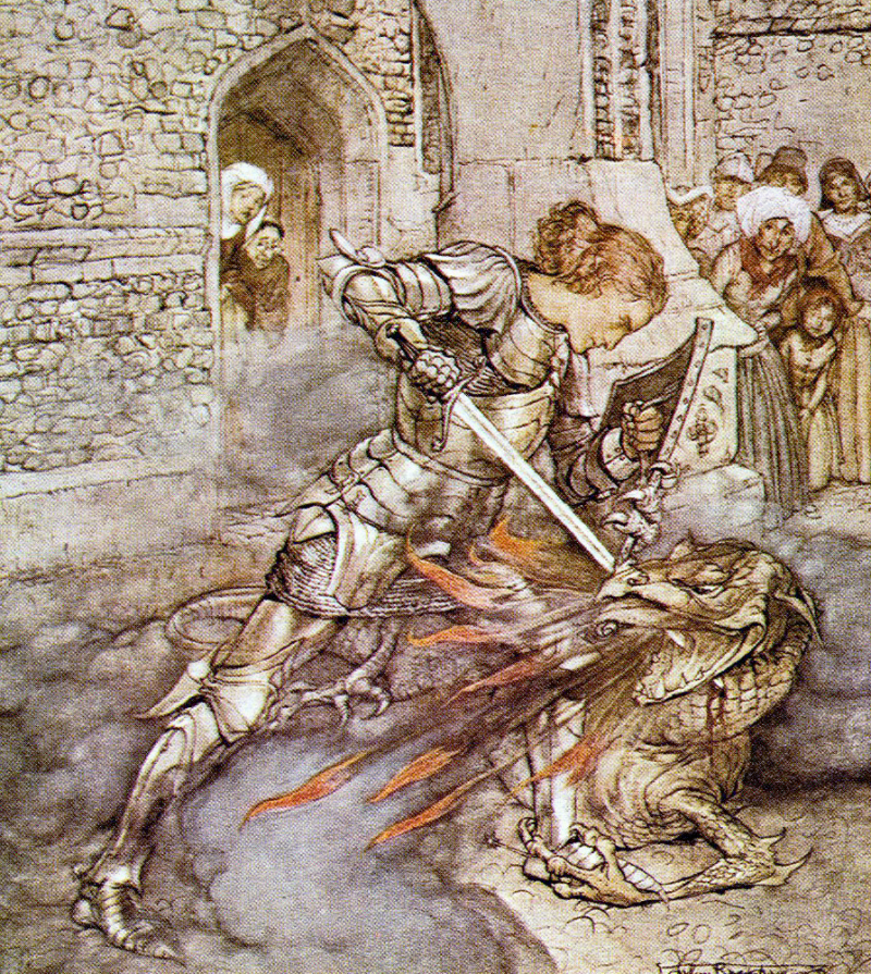 Sir Launcelot & the Fiendly Dragon by Arthur Rackham