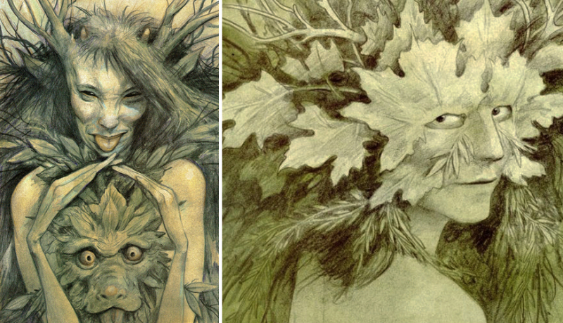 Green Women drawings by Brian Froud