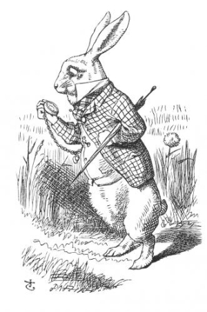 The White Rabbit checks his pocket watch  an illustration from Alice in Wonderland by John Tenniel