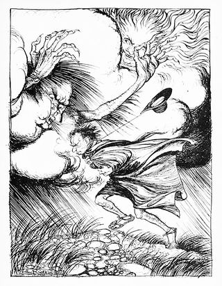 The North Wind and the Sun by Arthur Rackham