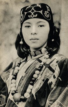 Ainu girl in traditional dress