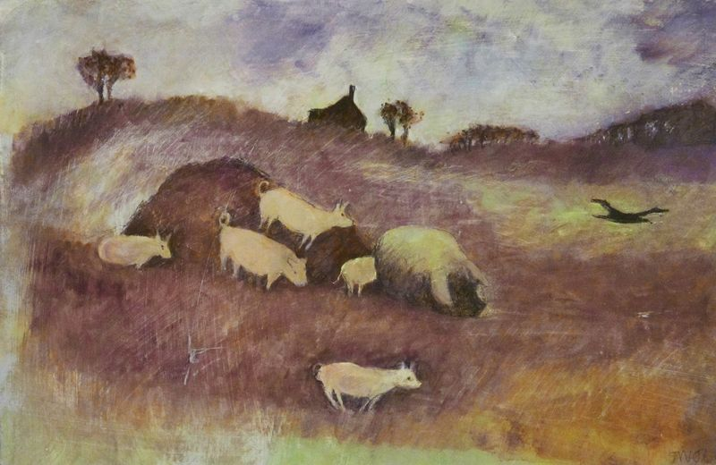 Piglets Playing on the Muck Heap by Tessa Newcomb