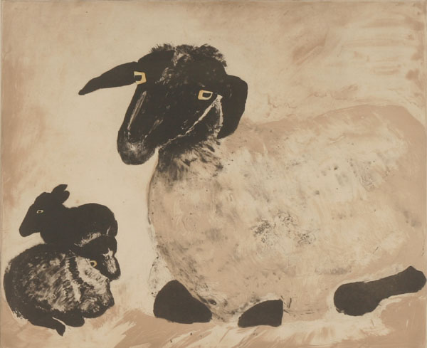 Sheep etching by Mary Newcomb