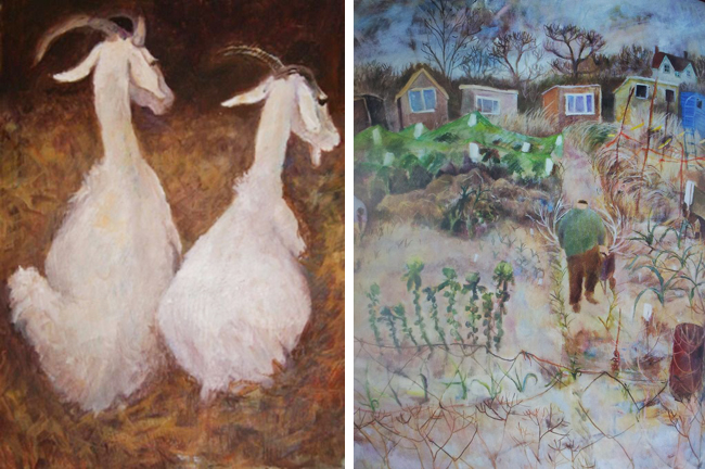 Two paintings by Tessa Newcomb, Mary's daughter.