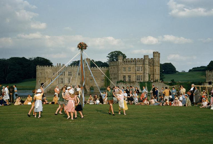 Maypole Dance at Leeds Castle, 1955 (from the National Geographic photo archive)