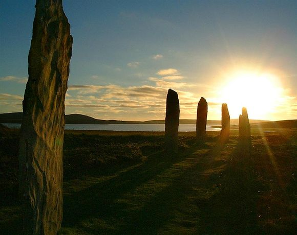 Stennes standing stones at sunset, Orkney, Scotland