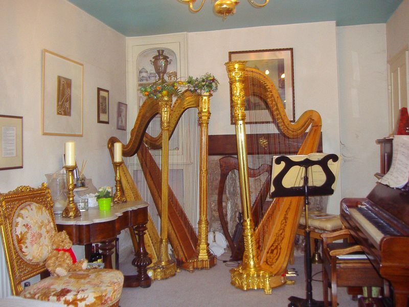 Elizabeth-Jane Baldry's music room, with harps