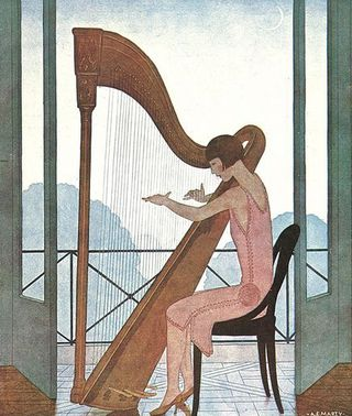 Harpist by Andre Edouard Marty