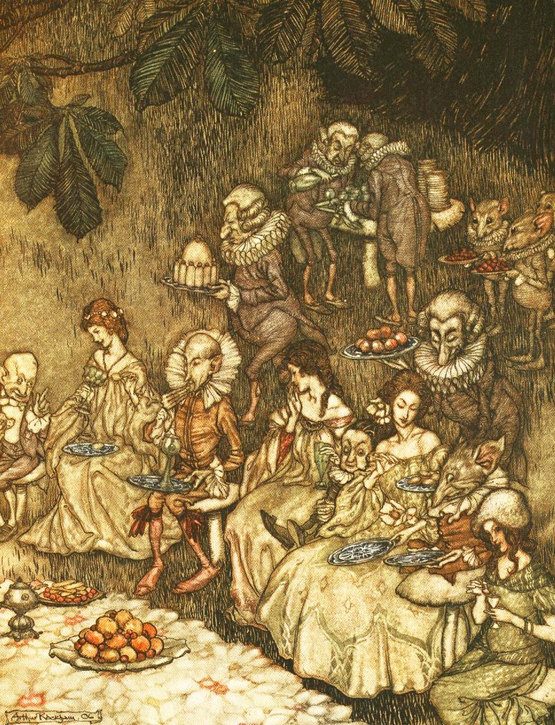 Faeries and berries by Arthur Rackham