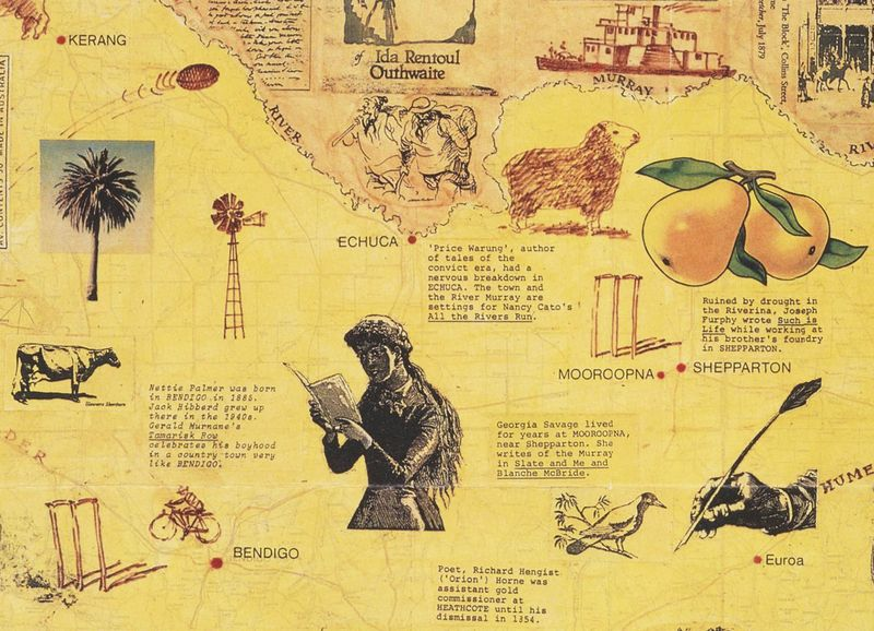 A detail from The Writer's State map, Australia