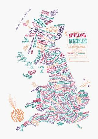 A map of children's literature in Britain by Geoff Sawyer & Bridgett Hannigan