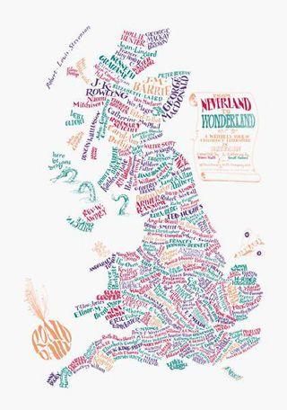 A map of children's literature in Britain by Geoff Sawyer & Bridgett Hannigan
