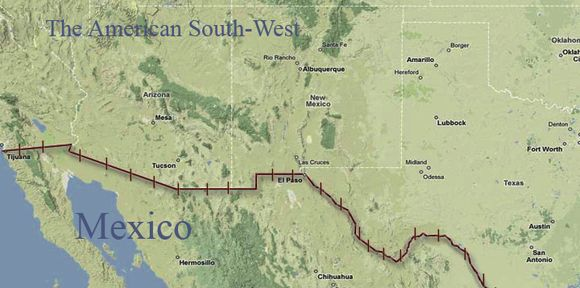 The border between the US and Mexico