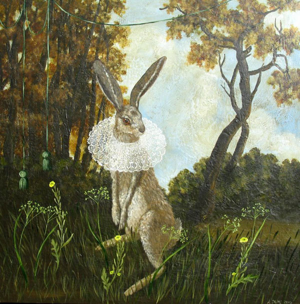 Rabbit With Lace Collar by Anne Siems