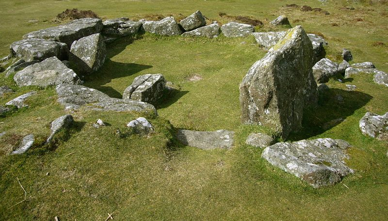 Hut circle at Grimspound, a Bronze Age settlement, Dartmoor, photograph by Herby Thyme
