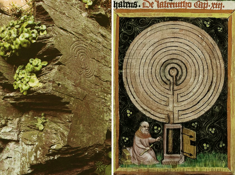 Rock carving near Tintagel, Cornwall, and a 15th century illuminated manuscript