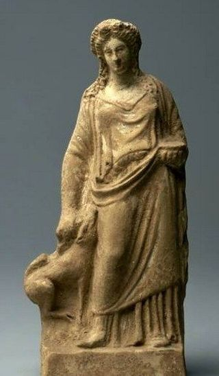 A figure of Demeter with a pig, circa 400 BCE, found near Athens